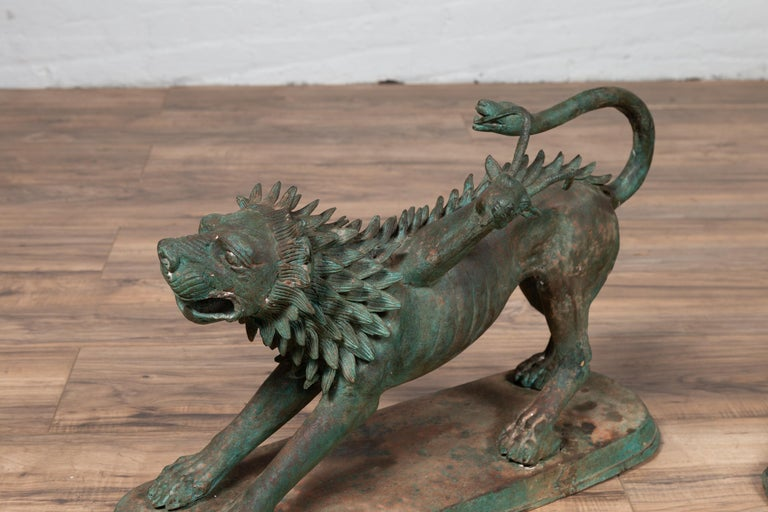 Pair of Contemporary Thai Cast Bronze Mythological Guardian Animal Sculptures For Sale 7