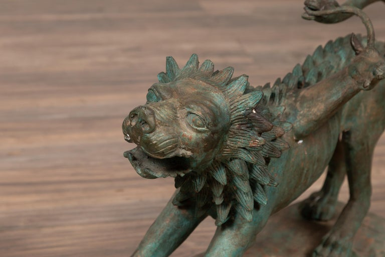 Pair of Contemporary Thai Cast Bronze Mythological Guardian Animal Sculptures For Sale 9