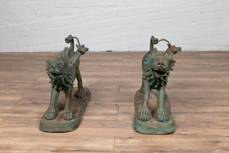 Pair of Contemporary Thai Cast Bronze Mythological Guardian Animal Sculptures For Sale 13