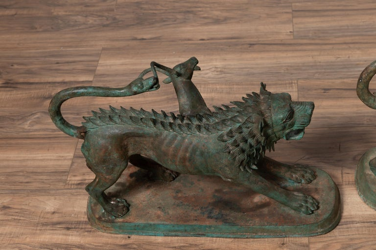 Pair of Contemporary Thai Cast Bronze Mythological Guardian Animal Sculptures For Sale 15