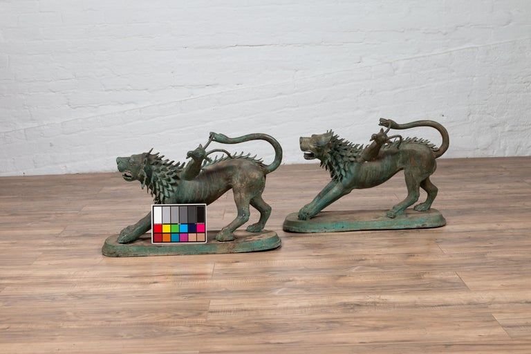 Pair of Contemporary Thai Cast Bronze Mythological Guardian Animal Sculptures For Sale 16