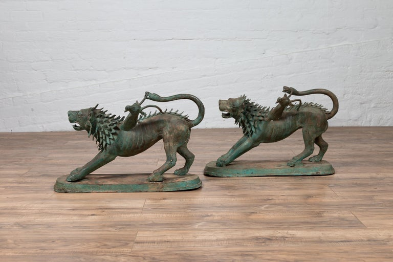 Pair of Contemporary Thai Cast Bronze Mythological Guardian Animal Sculptures In Good Condition For Sale In Yonkers, NY