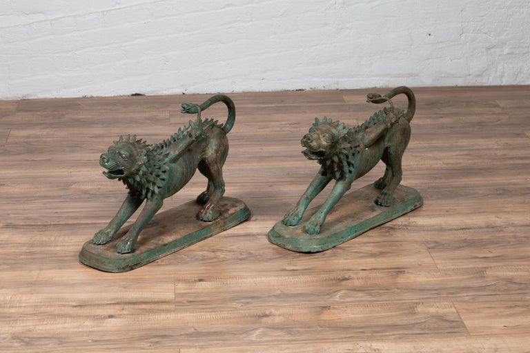 Pair of Contemporary Thai Cast Bronze Mythological Guardian Animal Sculptures For Sale 1