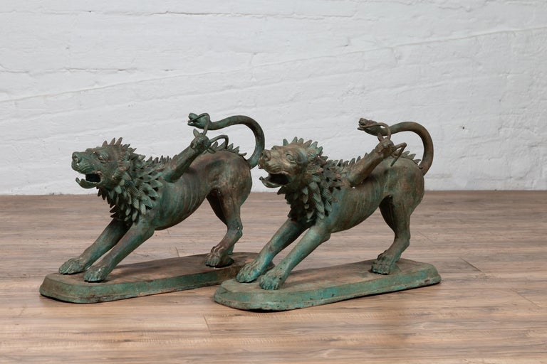 Pair of Contemporary Thai Cast Bronze Mythological Guardian Animal Sculptures For Sale 3
