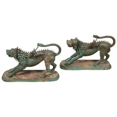 Pair of Contemporary Thai Cast Bronze Mythological Guardian Animal Sculptures