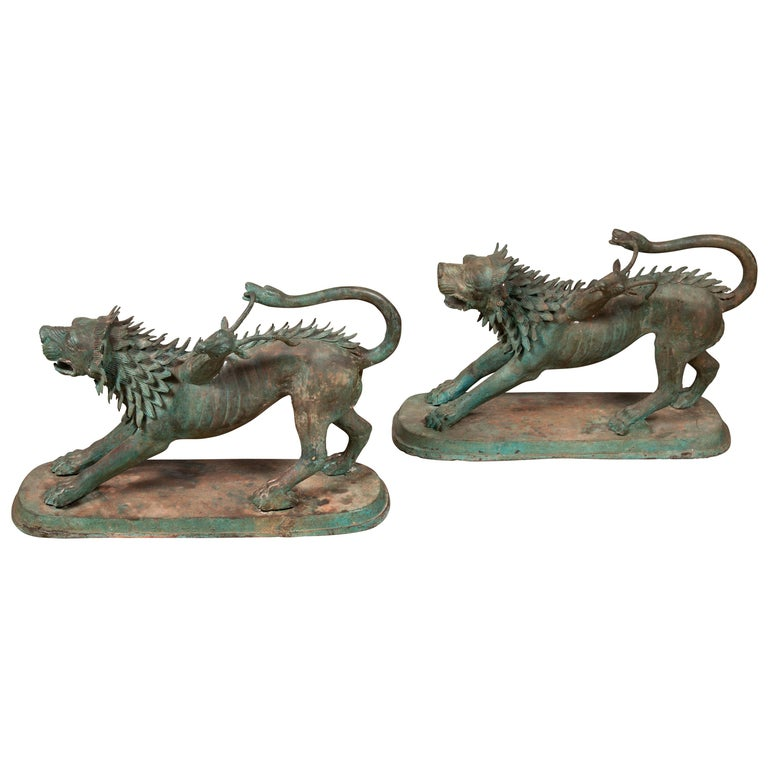 Pair of Contemporary Thai Cast Bronze Mythological Guardian Animal Sculptures For Sale