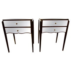 Pair of Contemporary Two-Drawer Mirrored Nightstands or End Tables