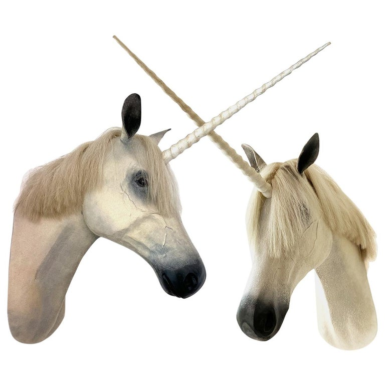 Pair of Contemporary Unicorn Heads For Sale
