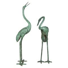 Pair of Contemporary Verdigris Bronze Crane Sculptures Tubed as Fountains