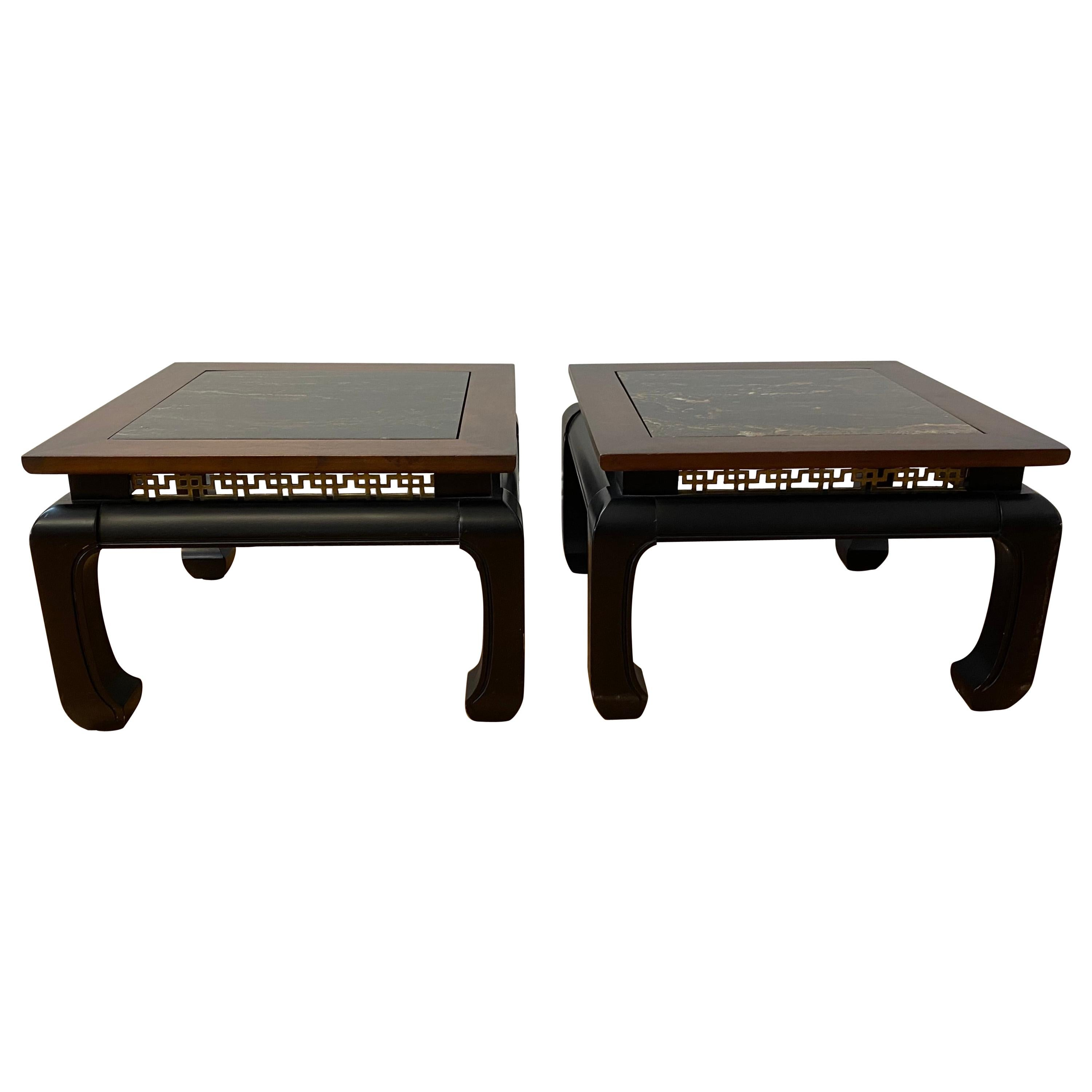 Pair of Contemporary Walnut, Marble & Brass Side Tables
