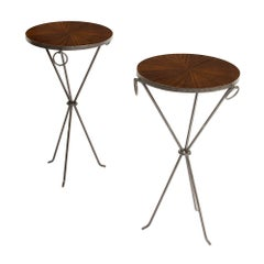 Pair of Contemporary Wrought Iron Drink Tables with Parquet Tops