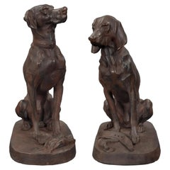 Pair of Continental 19th Century Cast Iron Statues of Two Dogs