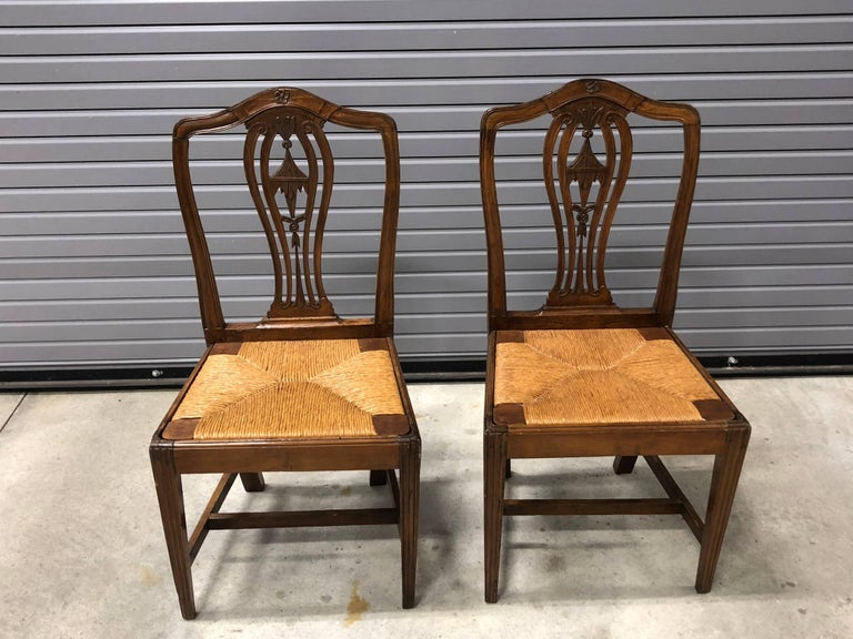 Rush Pair of Continental 19th Century Chinoiserie Side Chairs For Sale