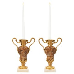 Pair of Continental 19th Century Louis XVI St. Candlestick Vases
