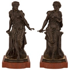 Pair of Continental 19th Century Neoclassical St. Statues, Signed J. Feiffer