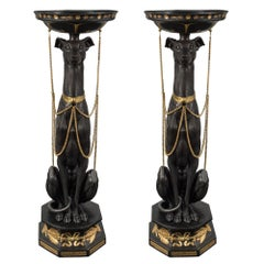 Pair of Continental 19th Century Neo-Classical Whippet Dog Pedestals