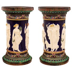 Pair of Continental 19th Century Neoclassical Style Majolica Pedestals
