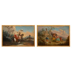 Pair of Continental 19th Century Oil on Canvas Paintings