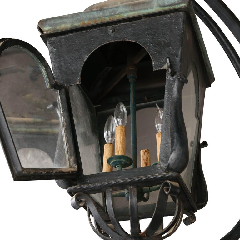 Forged Pair of Continental 19th Century Street Lanterns For Sale