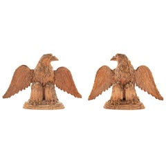 Pair of Continental 19th Century Terracotta Open Winged Eagles