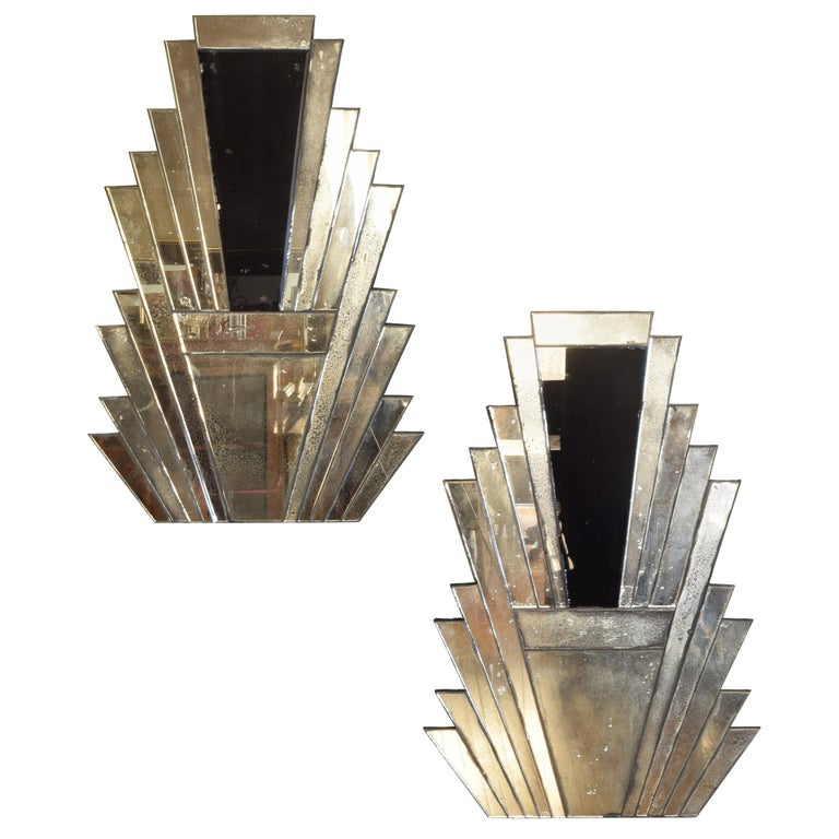 Pair of Continental Art Deco Wall Mirrors, Second Quarter of the 20th Century