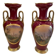 Pair of Continental Baluster Handled Porcelain Vases