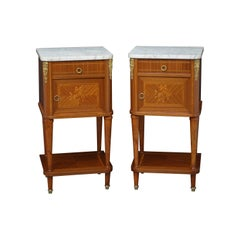 Pair of Continental Bedside Cabinets in Mahogany