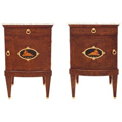 Pair of Continental Biedermeier Style One Drawer One Door Side Tables