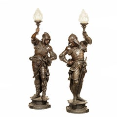 Pair of Continental Bronzed-Spelter Gasoliers