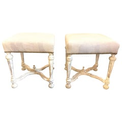 Pair of Continental Carved and Painted Upholstered Stools