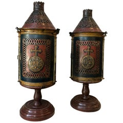 Pair of Continental Central European Candle Lanterns Lamps Decorative Object