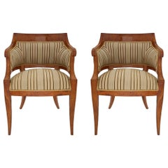 Pair of Continental Early 19th Century Neoclassical Style Armchairs