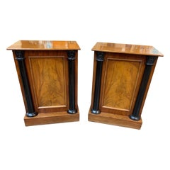 Pair of Continental Empire Style Walnut and Ebonized Side Cabinets