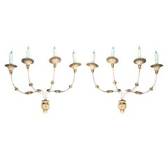 Pair of Continental Gilt and Painted Four-Arm Sconces, Wired, circa 1900