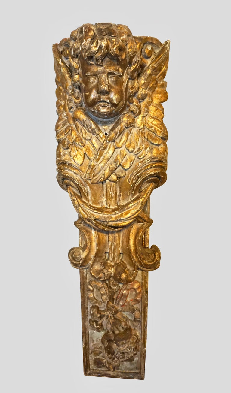Baroque Pair of Continental Giltwood Architectural Fragments Headed by Putti For Sale