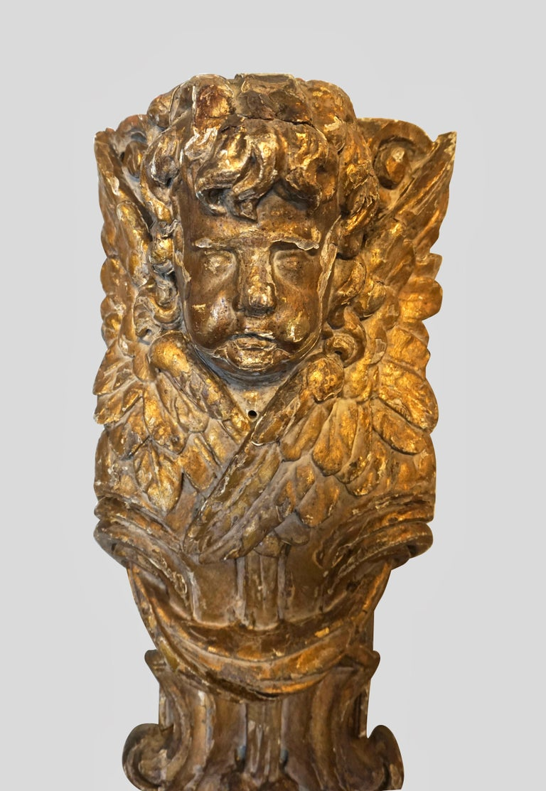 Italian Pair of Continental Giltwood Architectural Fragments Headed by Putti For Sale