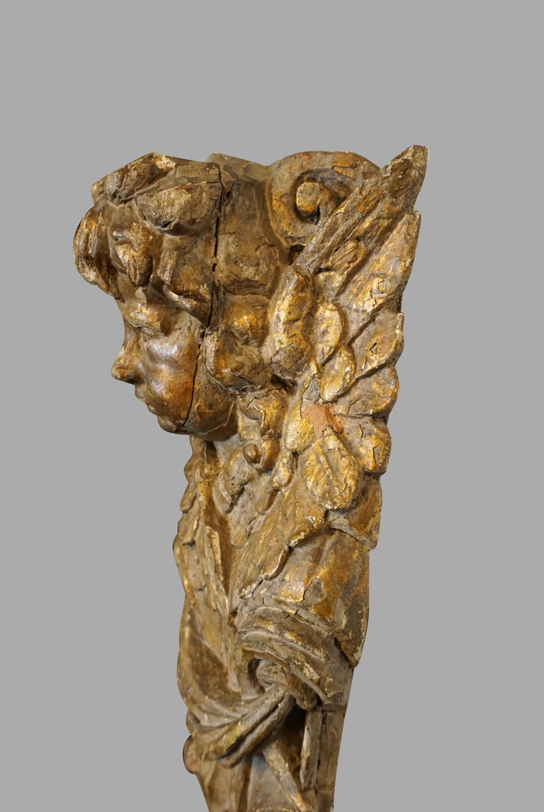 18th Century and Earlier Pair of Continental Giltwood Architectural Fragments Headed by Putti