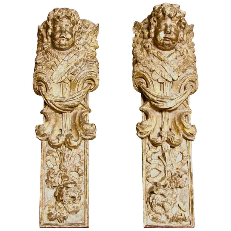 Pair of Continental Giltwood Architectural Fragments Headed by Putti For Sale