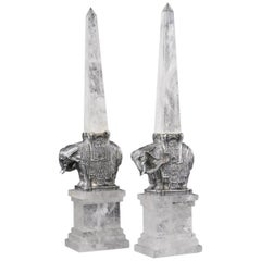 Pair of Continental Rock Crystal on Silvered Bronze Elephant Obelisks