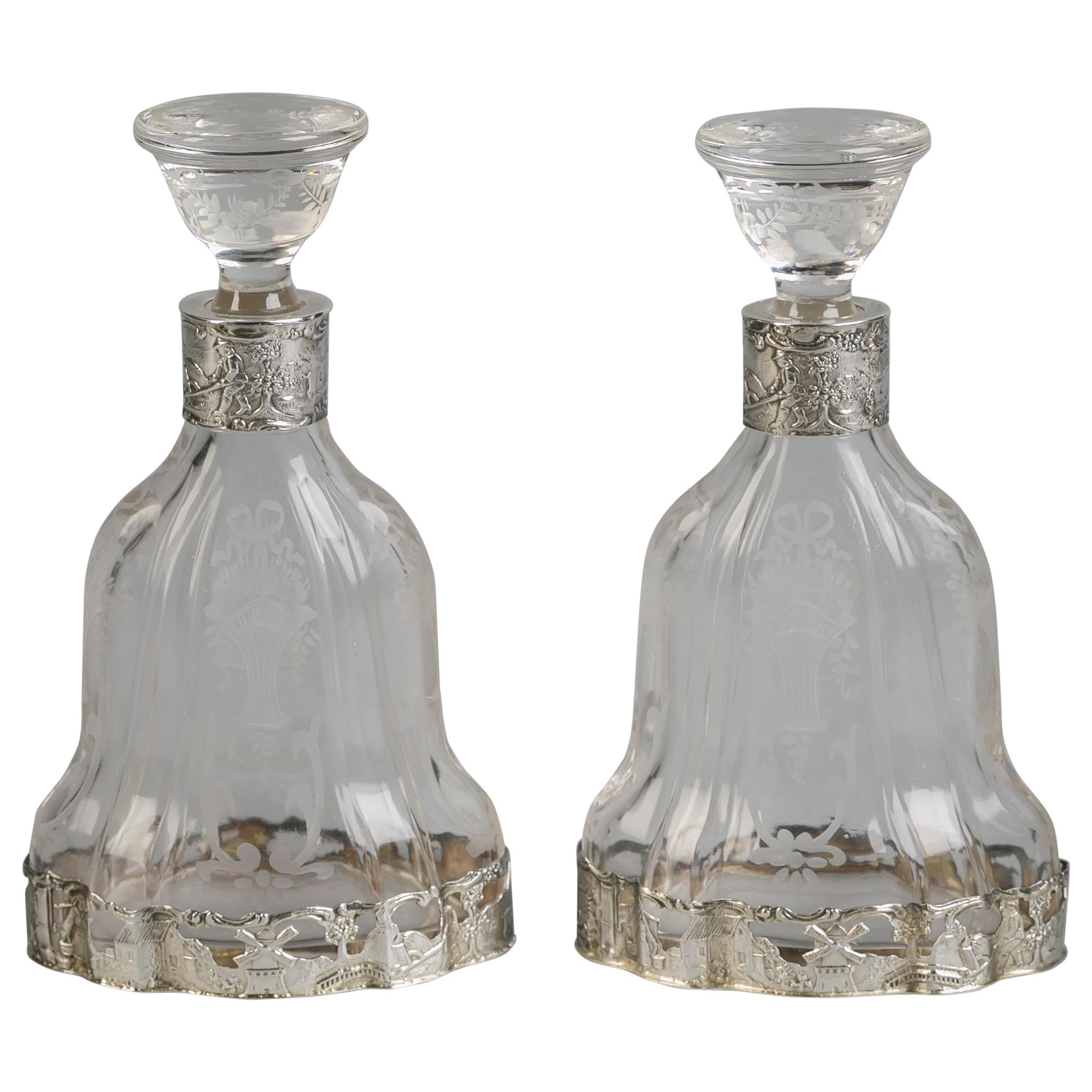 Pair of Continental Silver and Crystal Perfume Bottles, circa 1890