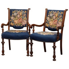 Pair of Continental Style Carved Walnut and Needlepoint Armchairs, circa 1920s