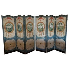 Pair of Continental Three-Panel Wood Framed and Painted Canvas Floor Screens