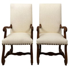 Pair of Continental Upholstered Open Armchairs