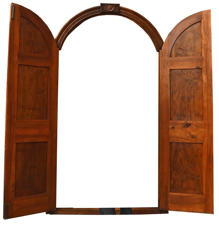 English Pair of Continental Walnut Double Doors in Frame For Sale