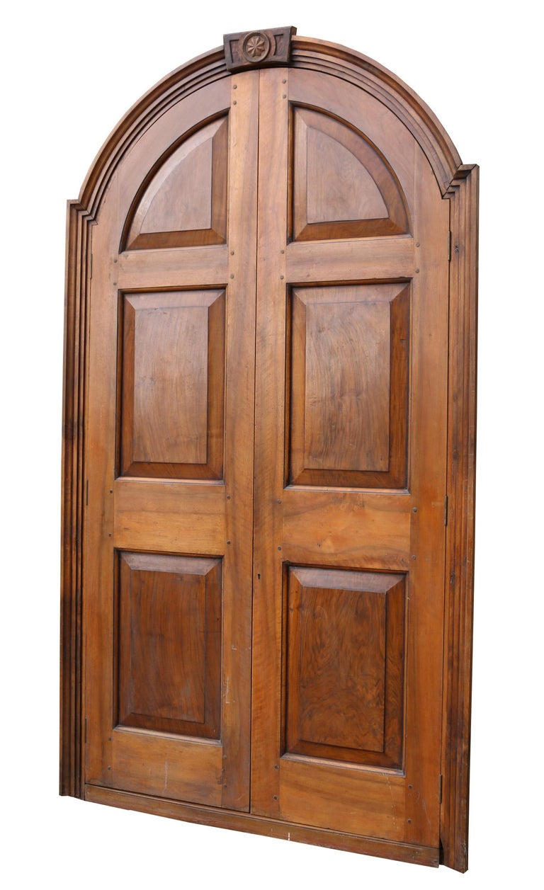 Hand-Crafted Pair of Continental Walnut Double Doors in Frame For Sale