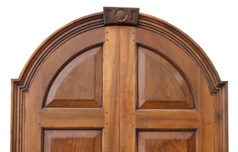 Pair of Continental Walnut Double Doors in Frame In Fair Condition For Sale In Wormelow, Herefordshire