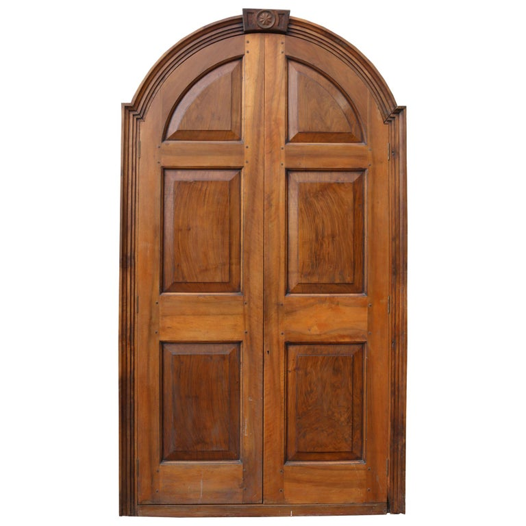 Pair of Continental Walnut Double Doors in Frame For Sale