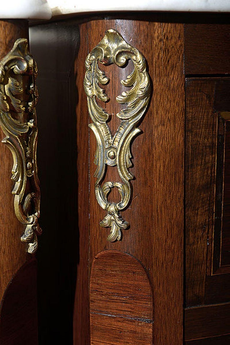 Late 19th Century Pair of Continental Walnut, Rosewood and Satinwood Marquetry Chests For Sale
