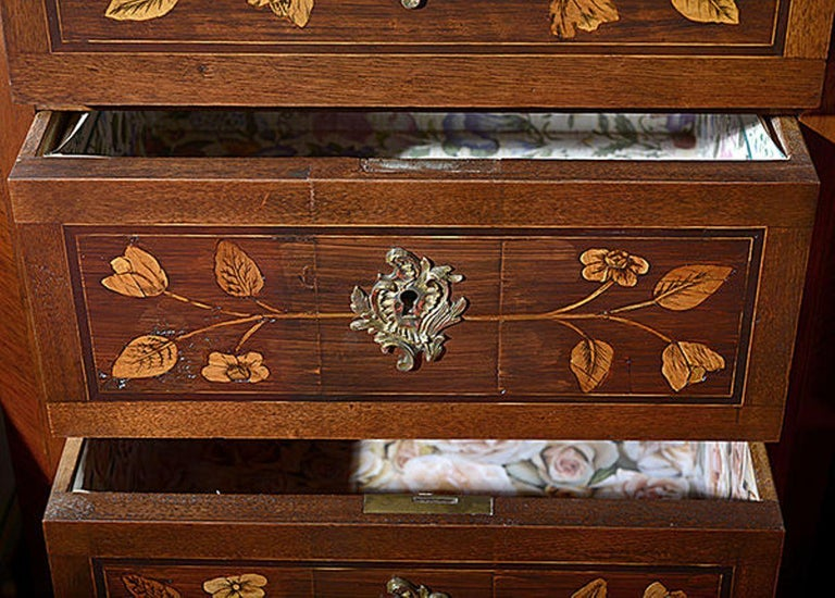 Pair of Continental Walnut, Rosewood and Satinwood Marquetry Chests For Sale 2