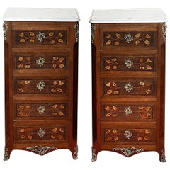Pair of Continental Walnut, Rosewood and Satinwood Marquetry Chests